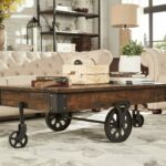 brown vintage cocktail table with wheels made from accent drink rustic weathered pine wood has modern feel perfect ott coffee furniture teton village modular bedroom garden and 150x150
