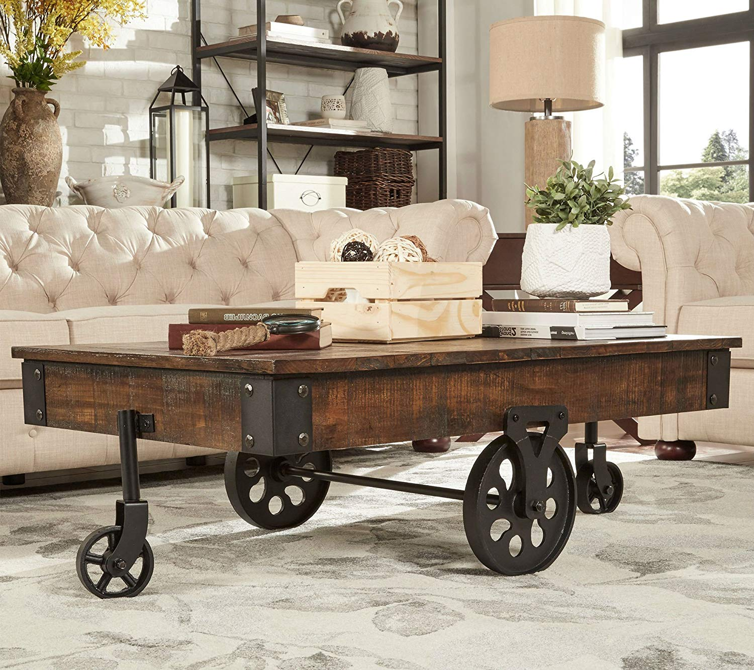 brown vintage cocktail table with wheels made from accent drink rustic weathered pine wood has modern feel perfect ott coffee furniture teton village modular bedroom garden and