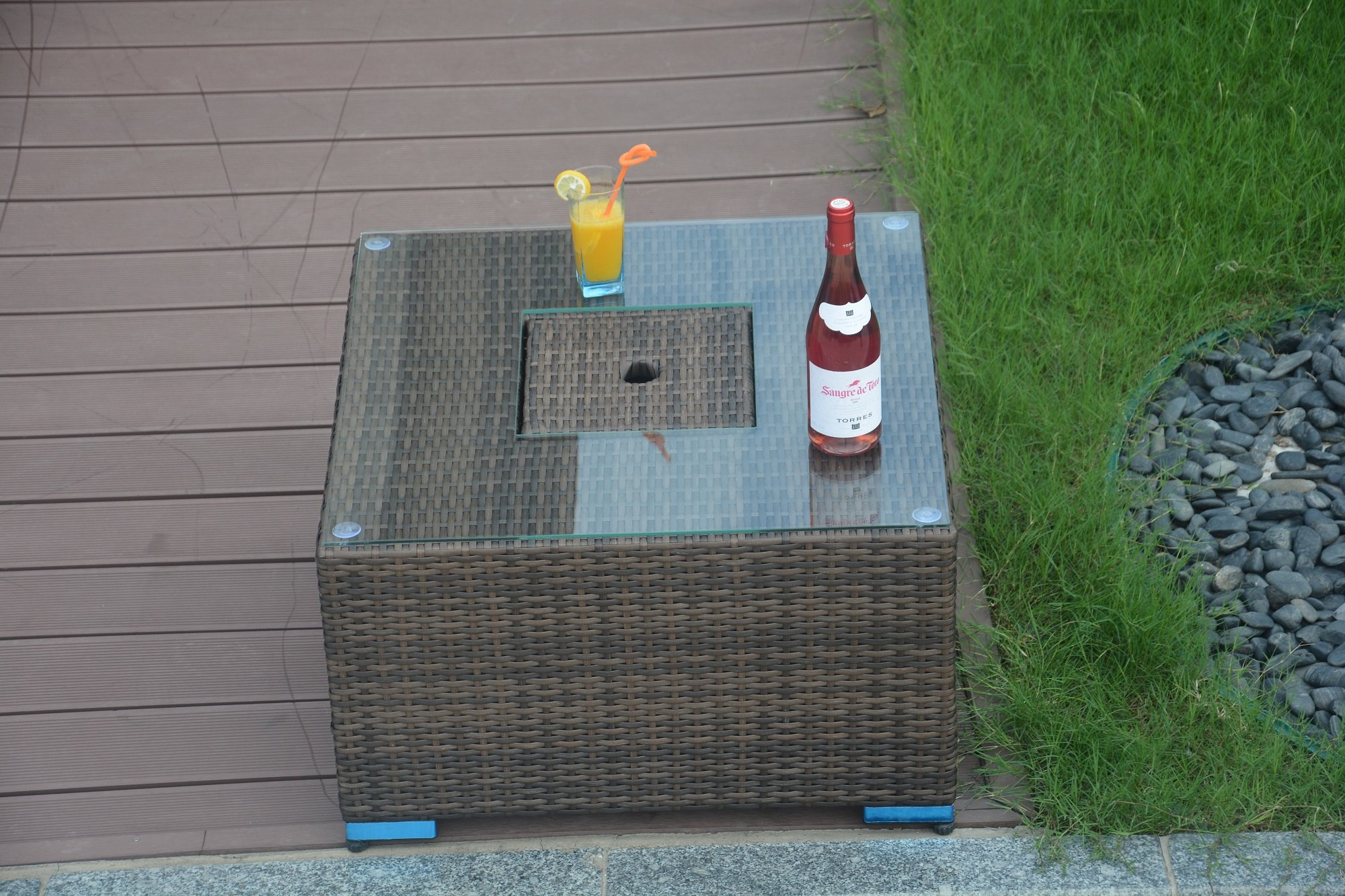 brown wicker side table find outdoor with ice bucket direct square cooler patio bar umbrellas that provide shade cover for and chairs cool home decor british furniture designers