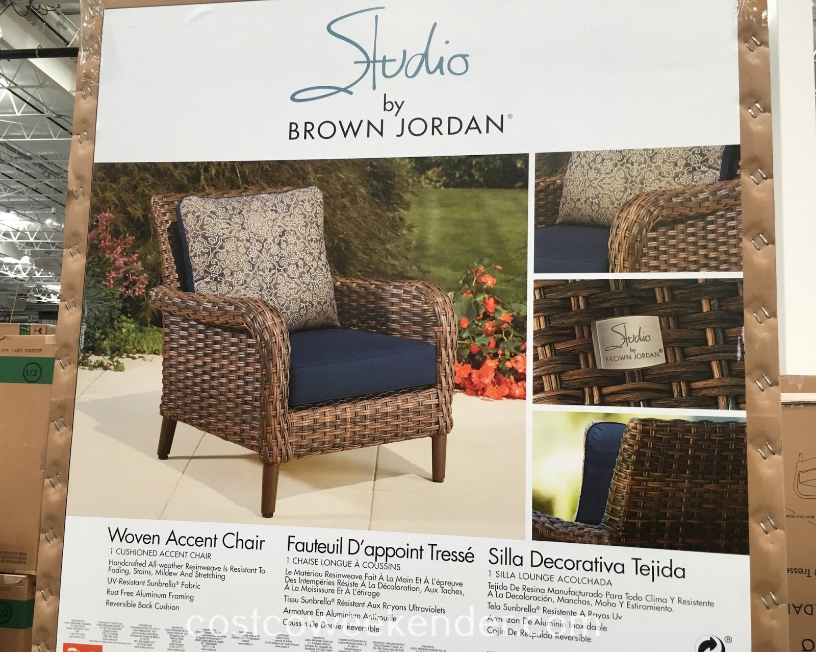 brown woven accent chair weekender studio table great for any backyard patio model home furniture tiered metal target kids inch mosaic side round pottery barn sectional lamp small