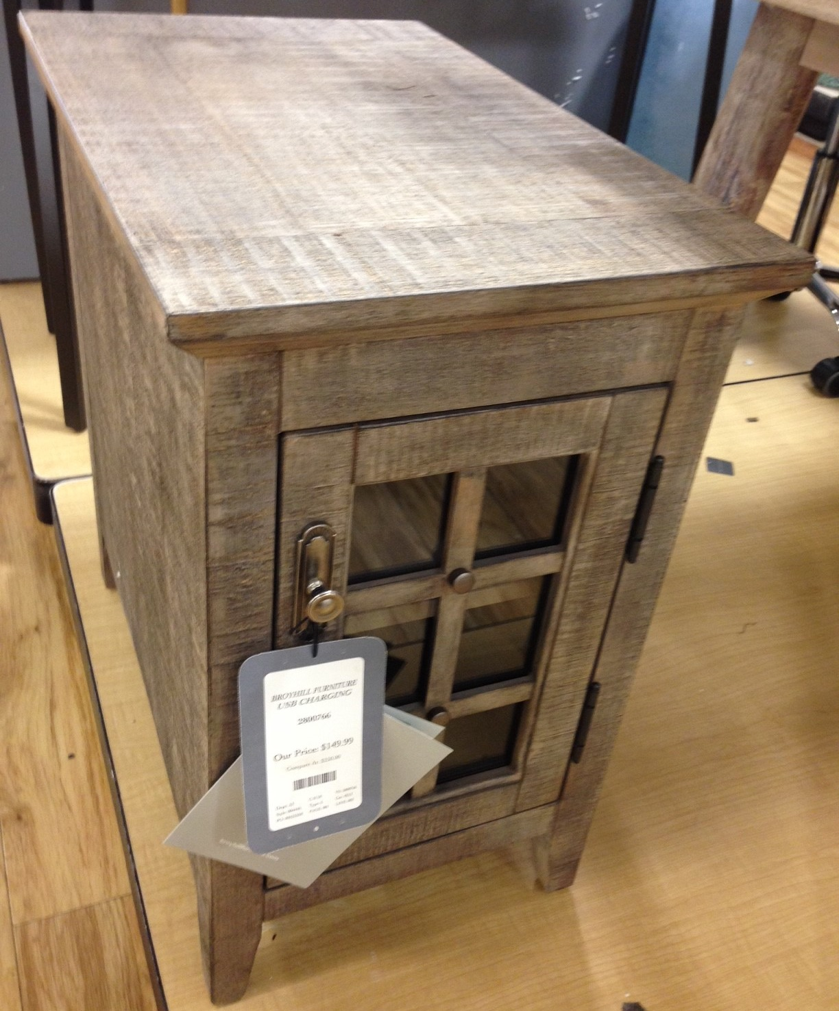 broyhill chairside table weekender weathered gray maxx end with usb color found target corner cool accent tables covered litter small wine refrigerator mid century two tier hobby