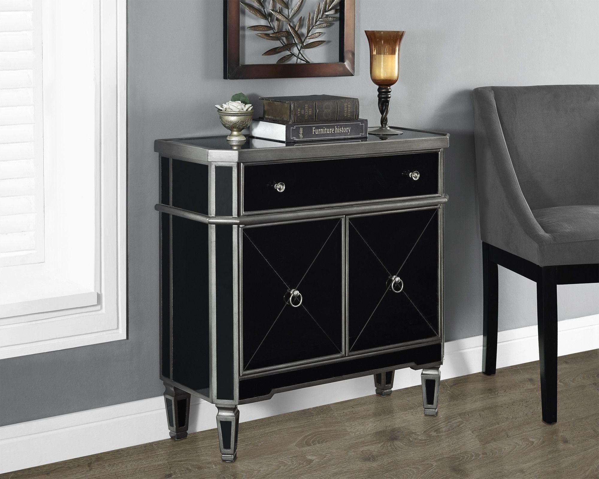 brushed charcoal grey black mirrored accent table reno glass with drawer wood file cabinet ellen allen furniture beautiful living room barn leaf buffet wine rack cute lamps end