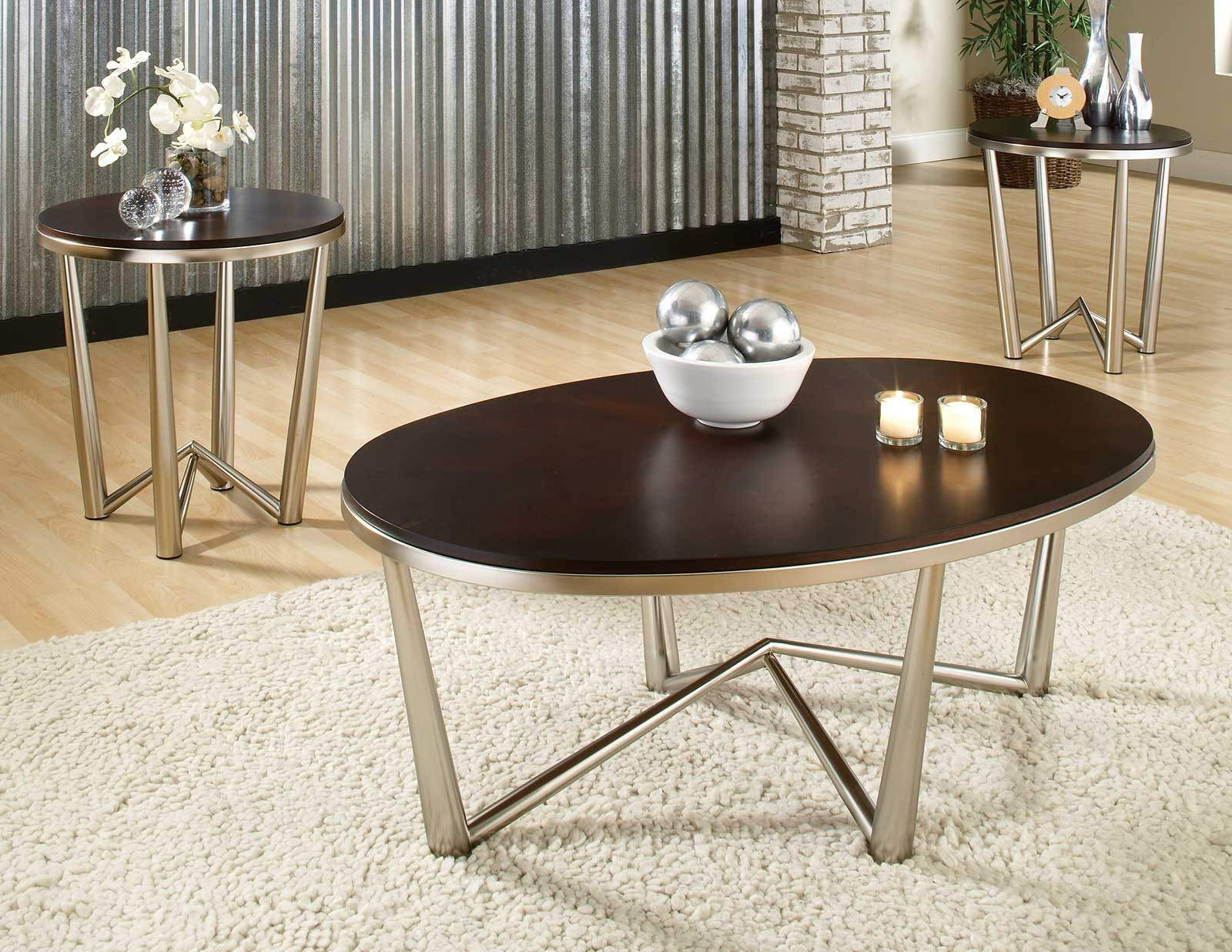 brushed silver end tables img small accent table cosmo three pack occasional set steve from box frame marble coffee toronto metal legs unicorn mission lamp piece dining round