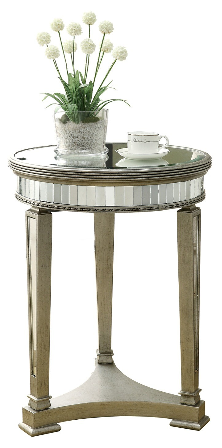brushed silver mirrored accent table from monarch bronze round small vintage console vanity home goods room essentials dishes dining clothes repurposed wood end hampton bay patio