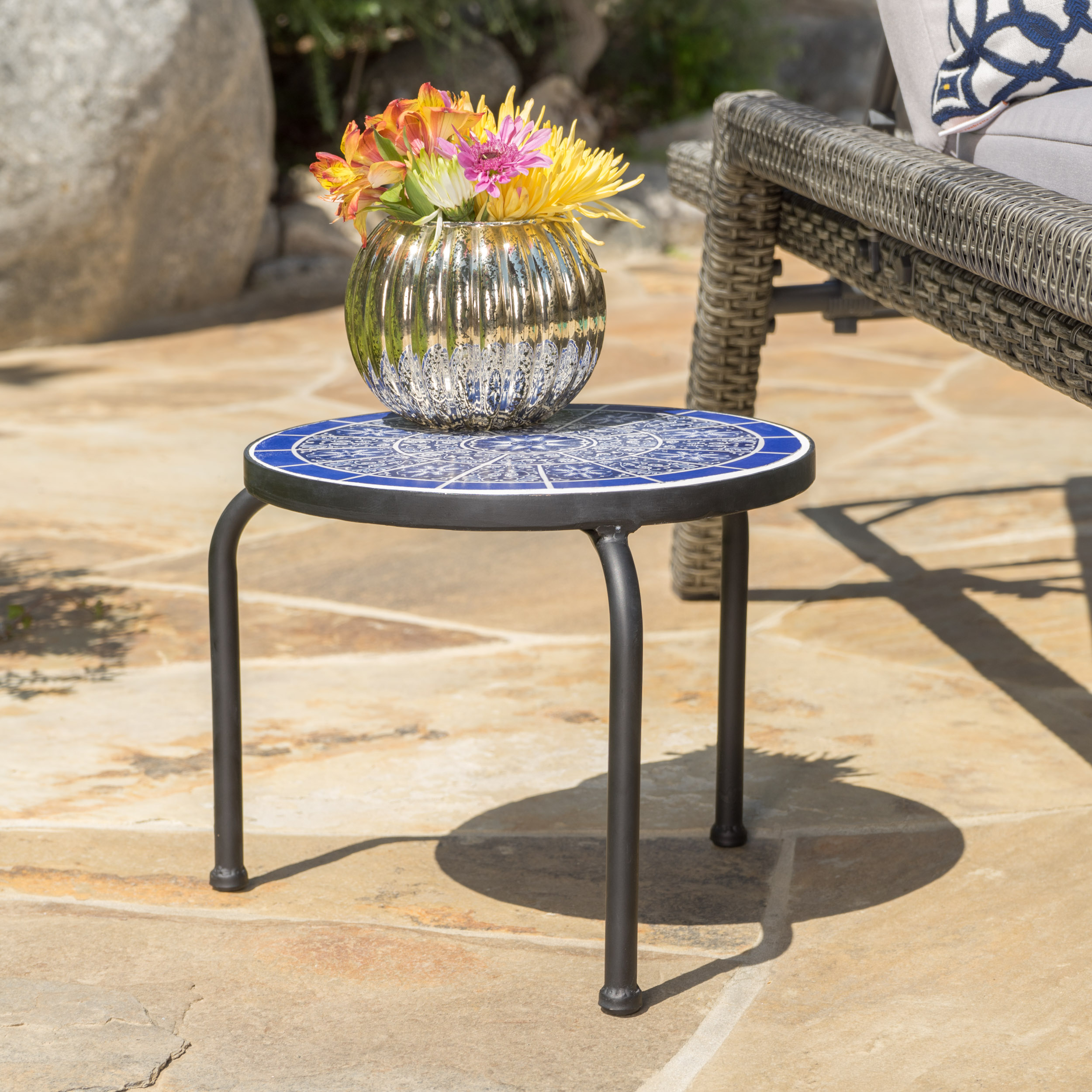 bryan outdoor ceramic tile side table with iron frame blue and white furniture chairs mirrored end target mila square accent portable massage silver round light shower head bar