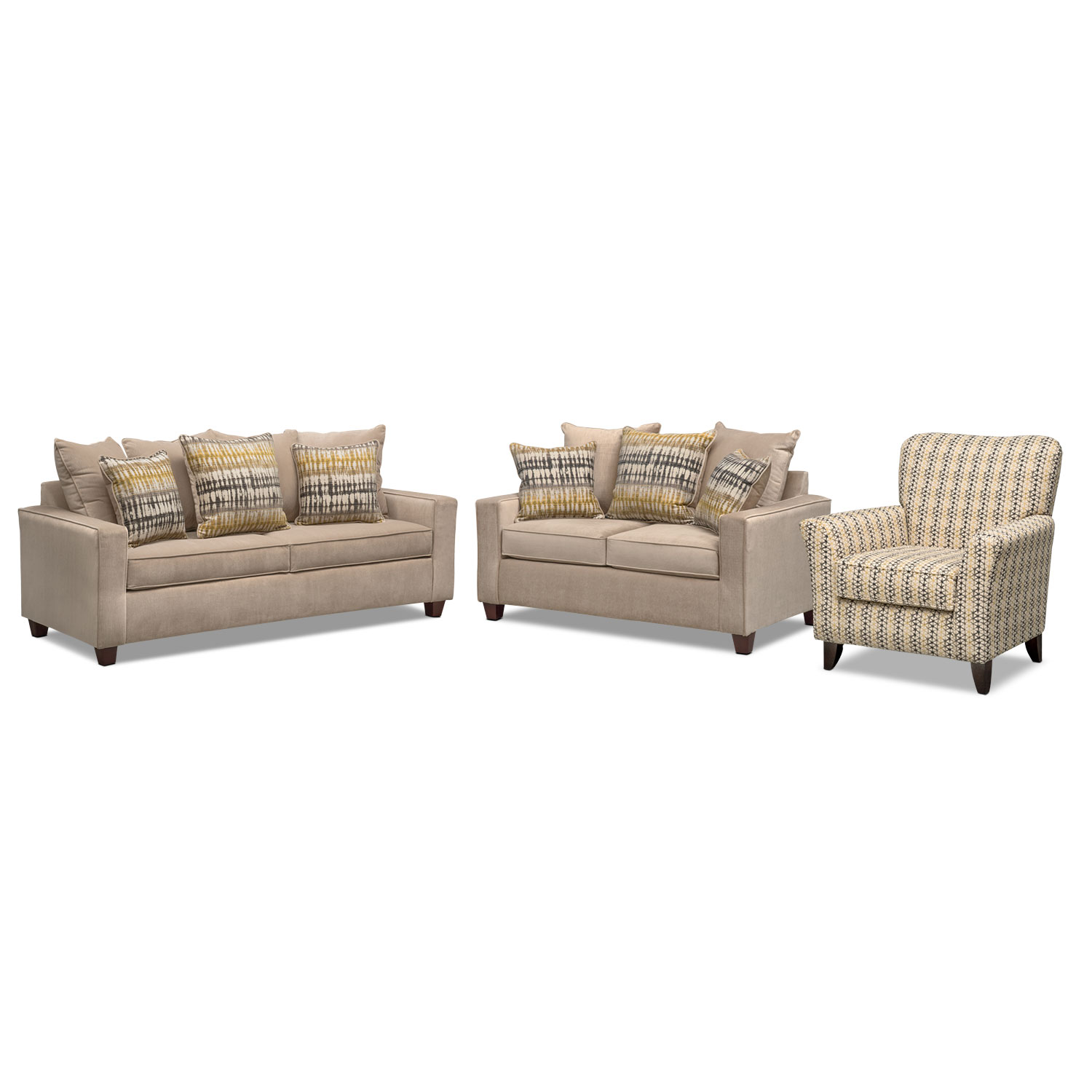bryden sofa loveseat and accent chair set american signature with table beach house furnishings hampton bay wicker cover factory coffee tray pottery barn small outdoor storage box
