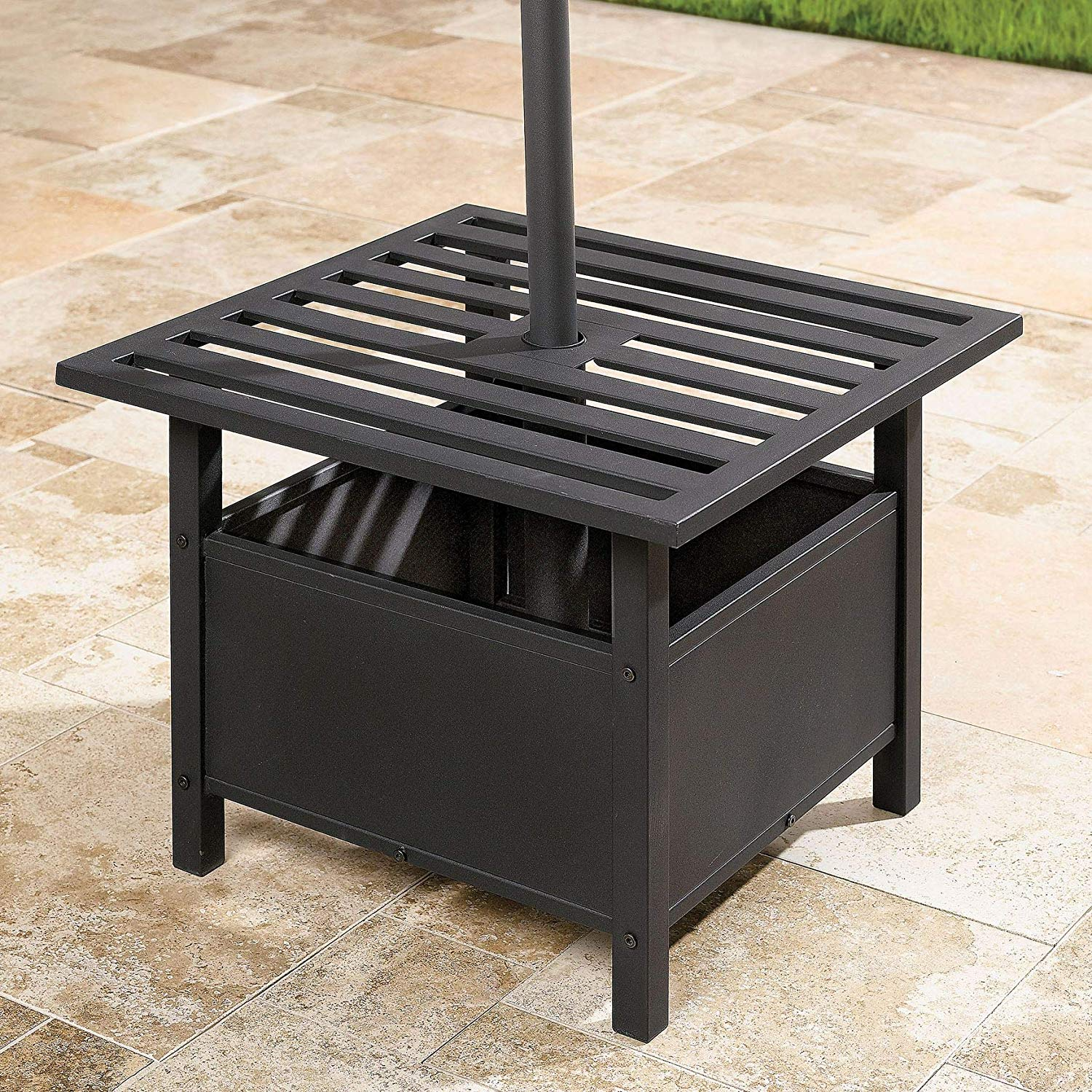 brylanehome umbrella stand side table oil rubbed patio accent bronze garden outdoor antique living room tables lift top coffee small black round pottery barn square dining kitchen