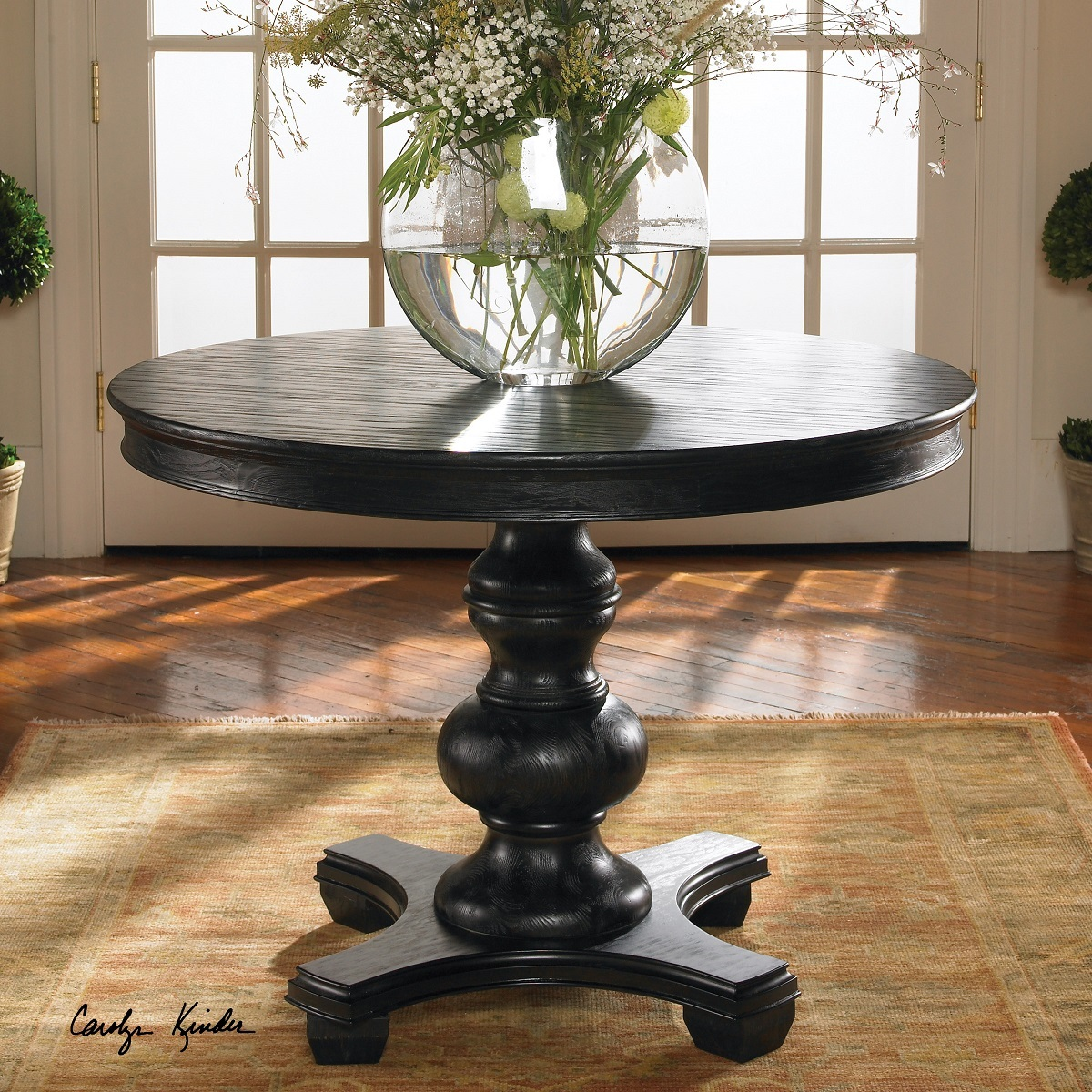 brynmore black round pedestal table zin home dining accent crystal glass lamp base furniture console cabinet small grey chair slim bedside ceramic outdoor side with wicker chairs