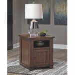 budmore end table with usb ports ashley furniture home crop accent centrepiece living room cabinets and chests wood frame mirror battery operated lights lamps black console 150x150
