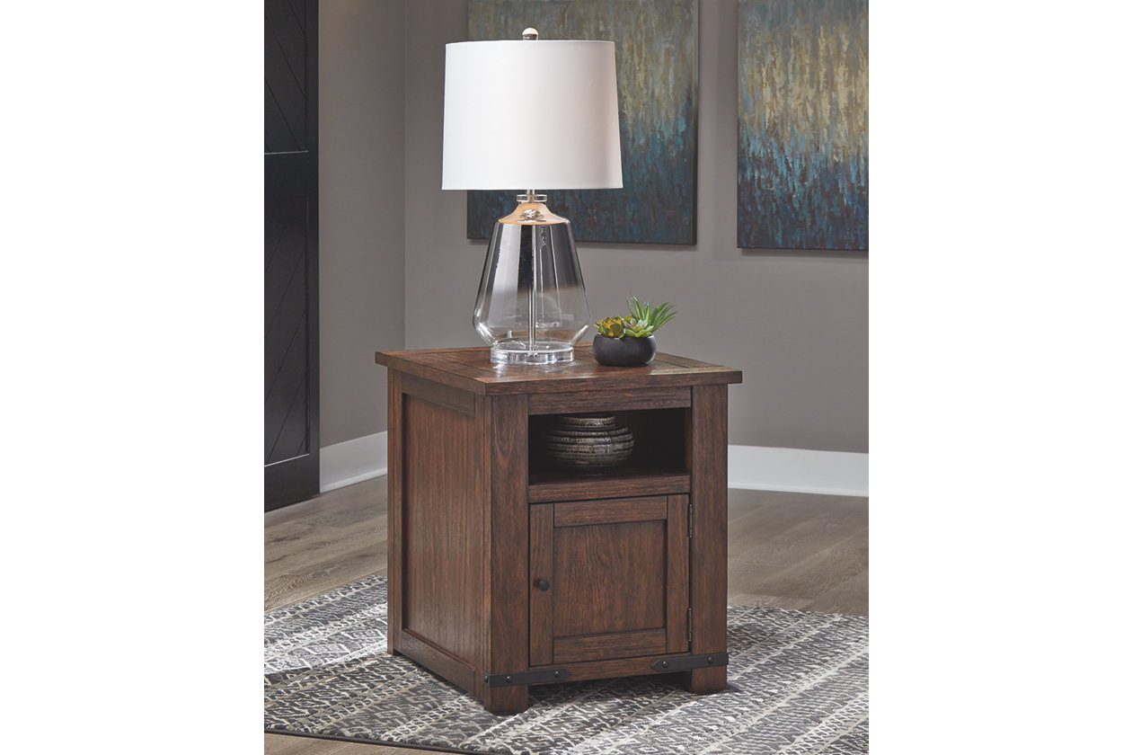 budmore end table with usb ports ashley furniture home crop accent port small farmhouse hardwood garden low round triller target contemporary lamps for living room rustic cocktail