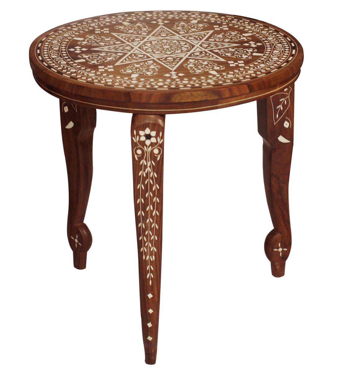 bulk source hand carved decorative wooden accent table with round top detachable wire side jcpenney couches west elm floor pillow counter lamp long cabinet industrial look end