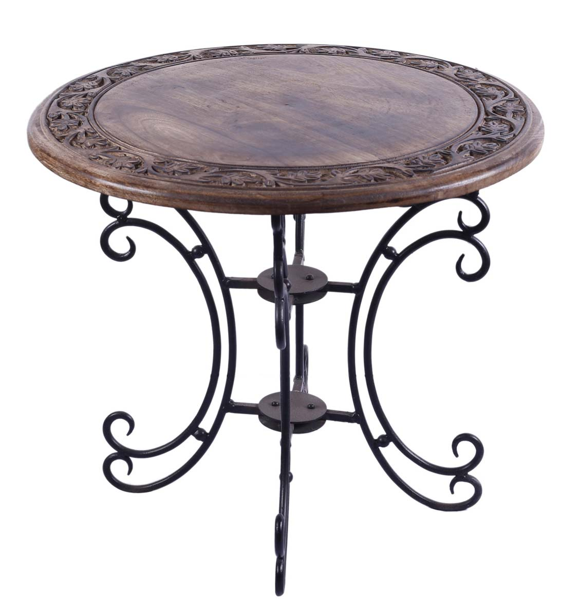 bulk whole round accent table mango wood hand carved rustic folding coffee with iron tall bistro end tables drawers leg kit gold drum metal and glass outdoor side cooler parsons