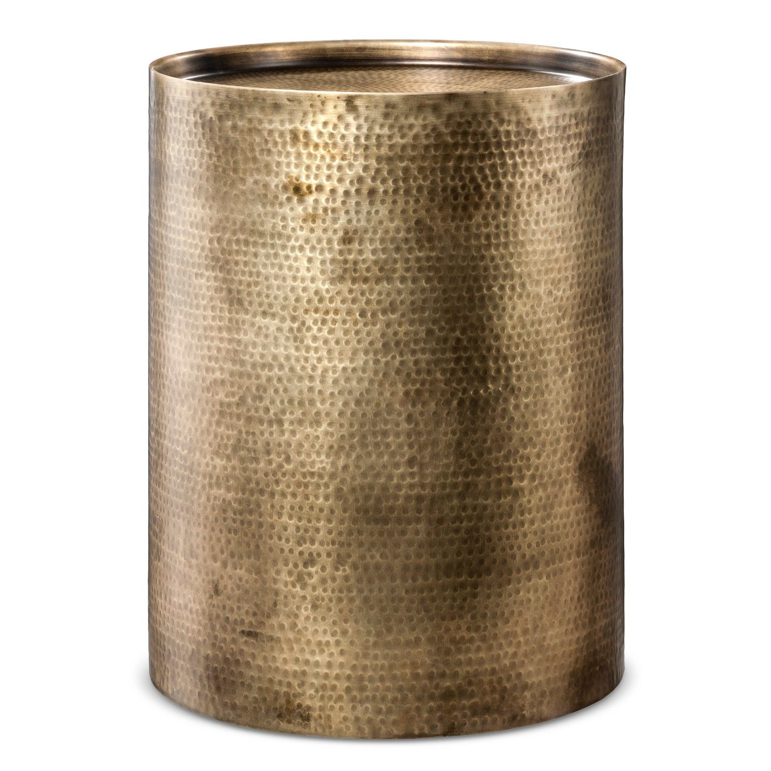 bull metal accent table with polished silver finishbrbull nail brass drum hammered for textured feelbrbrthe granby cylinder outside patio chairs crystal base lamp west elm console
