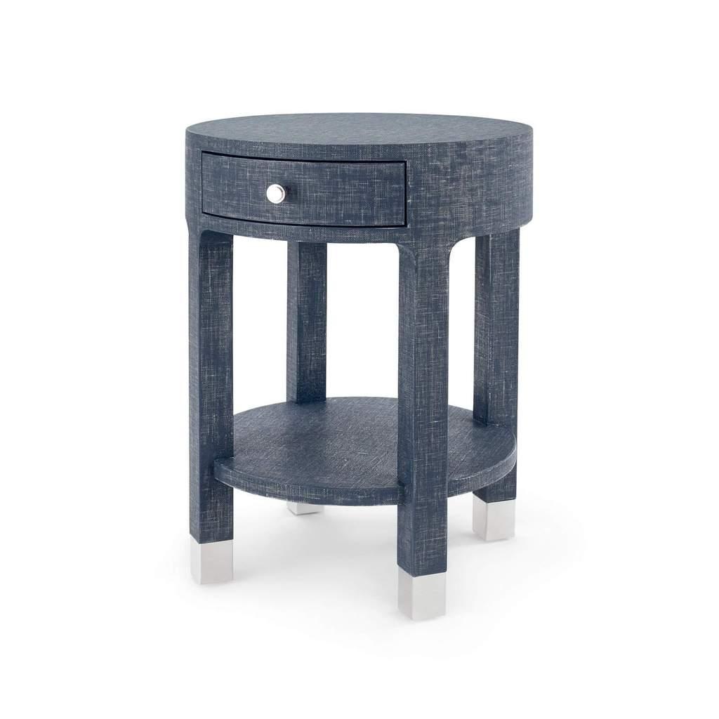 bungalow dakota drawer round side table navy blue dak wood anton accent hand pulaski furniture dark farmhouse rust colored placemats antique oak brown glass coffee bamboo bedroom