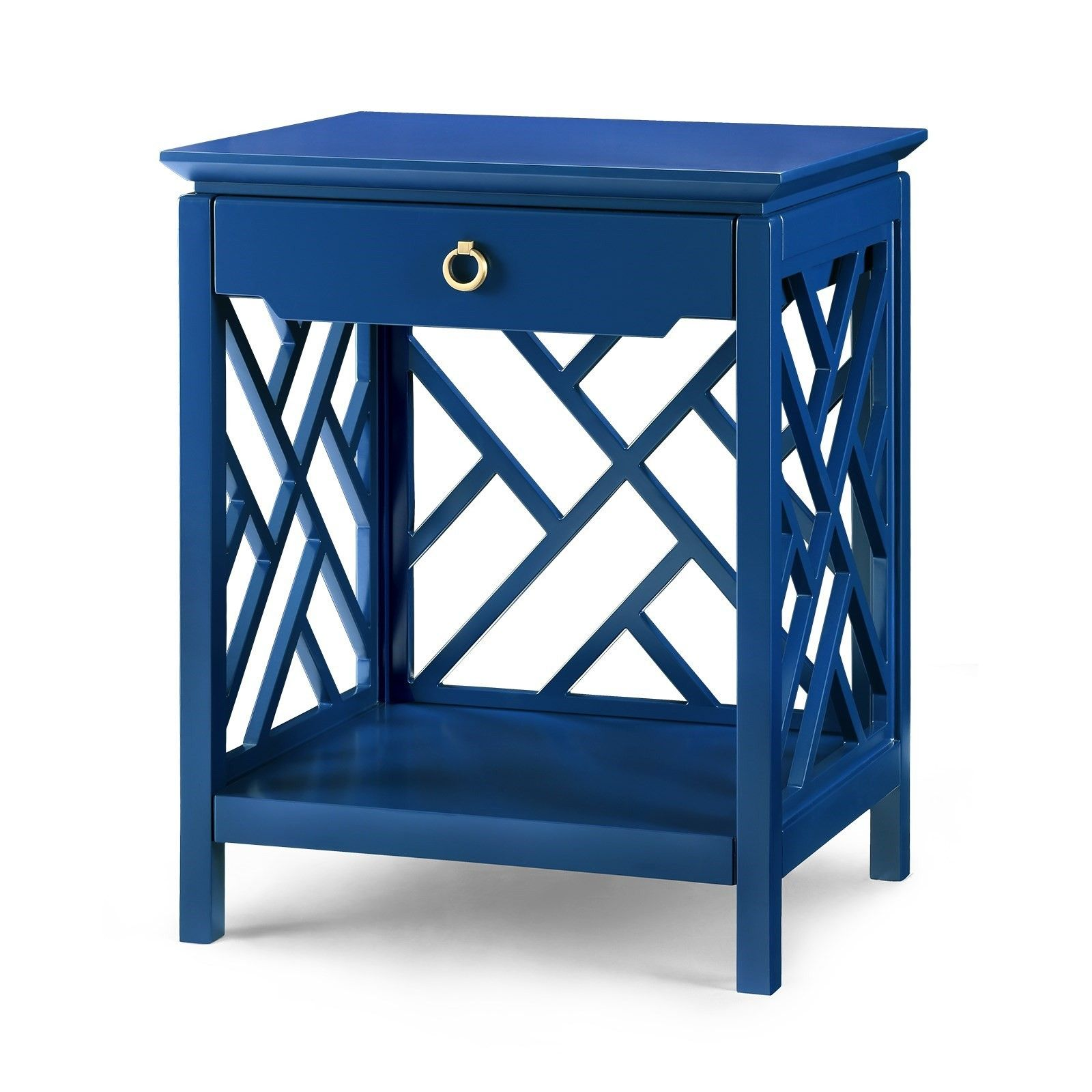 bungalow nantucket chippendale fretwork drawer side table accent blue furniture homedecor interiordesign sofa and end tables turquoise dresser small industrial cupboards for