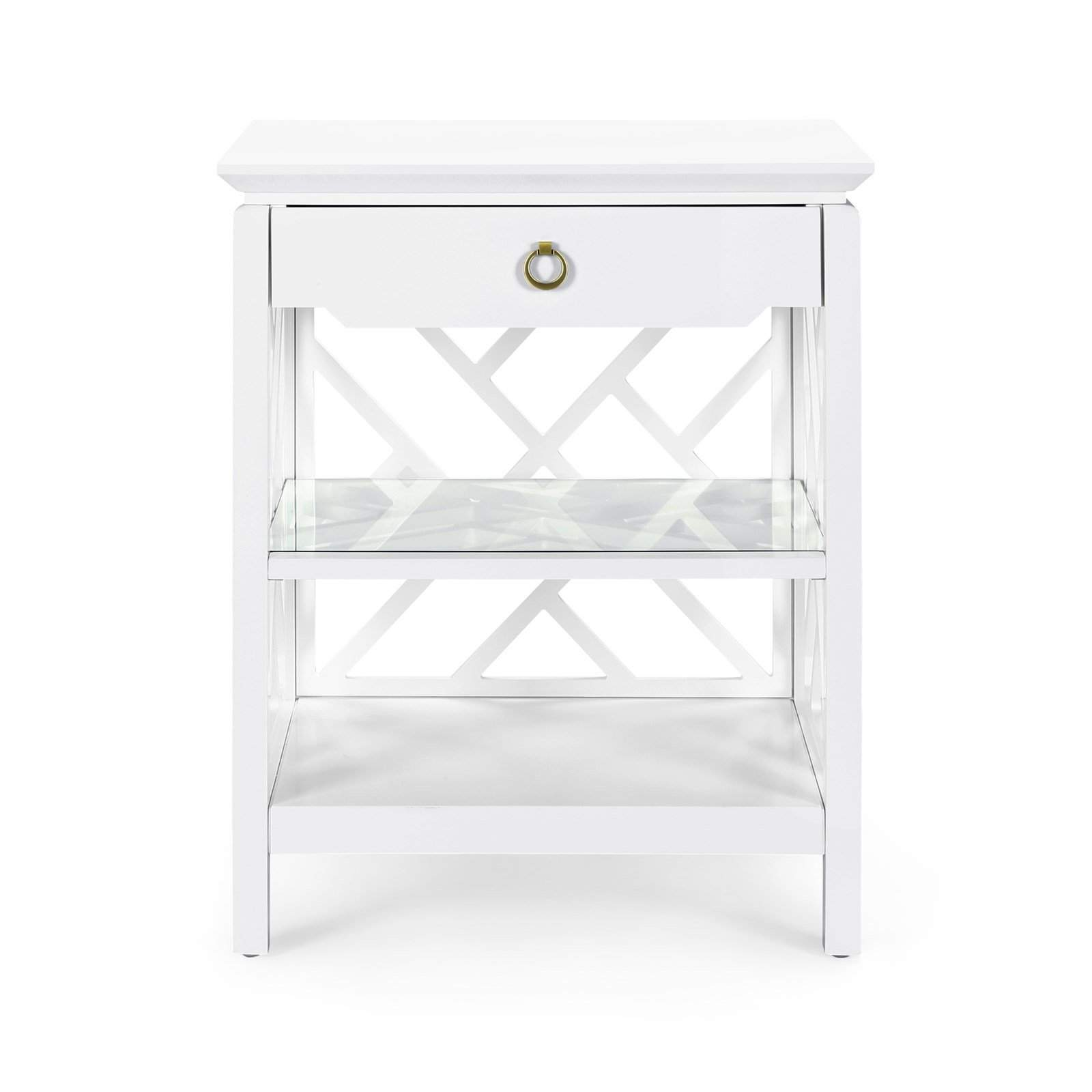 bungalow nantucket drawer side table white nan fretwork accent blue hand home outdoor drum changing pad tray target square fall tablecloth painted diy chest coffee murphy desk