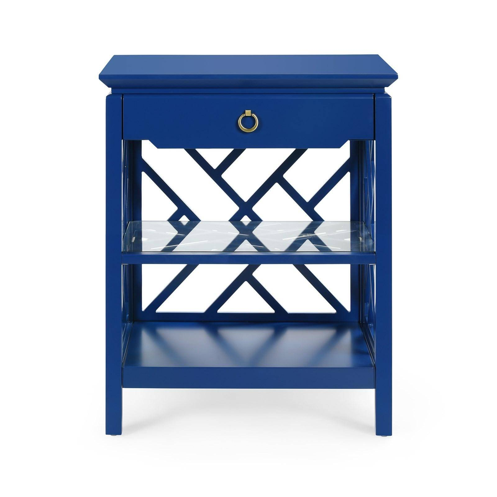 bungalow nantucket modern navy blue lacquered wood drawer side fretwork accent table reviews nan oriental style lamps outdoor drum canadian tire small industrial end patio bar