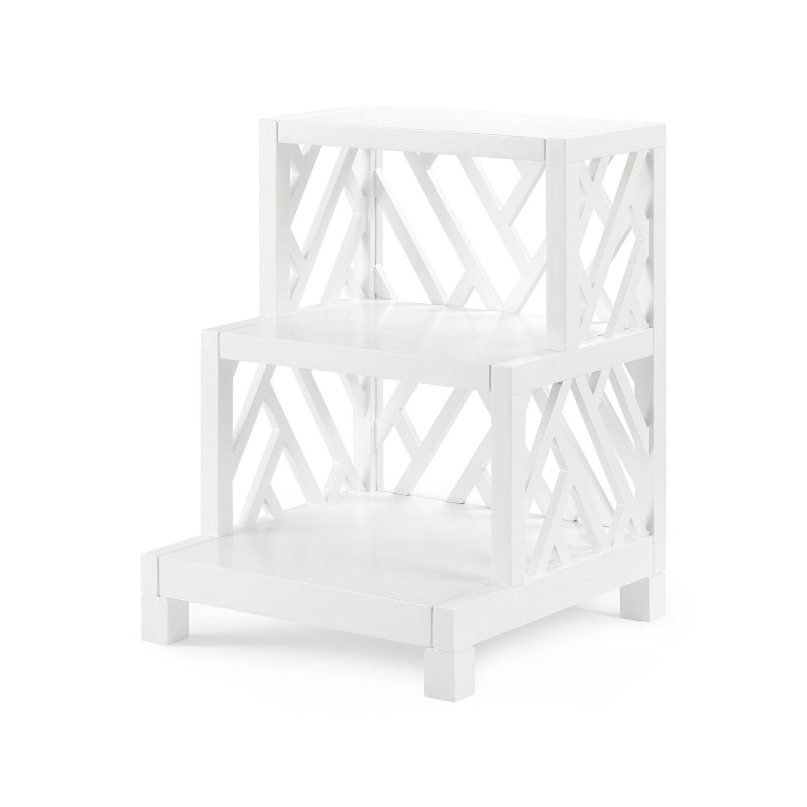 bungalow nantucket modern white lacquered wood fixed shelves lacquer accent table side reviews nan wilcox furniture set round coffee tables threshold yellow blue outdoor small