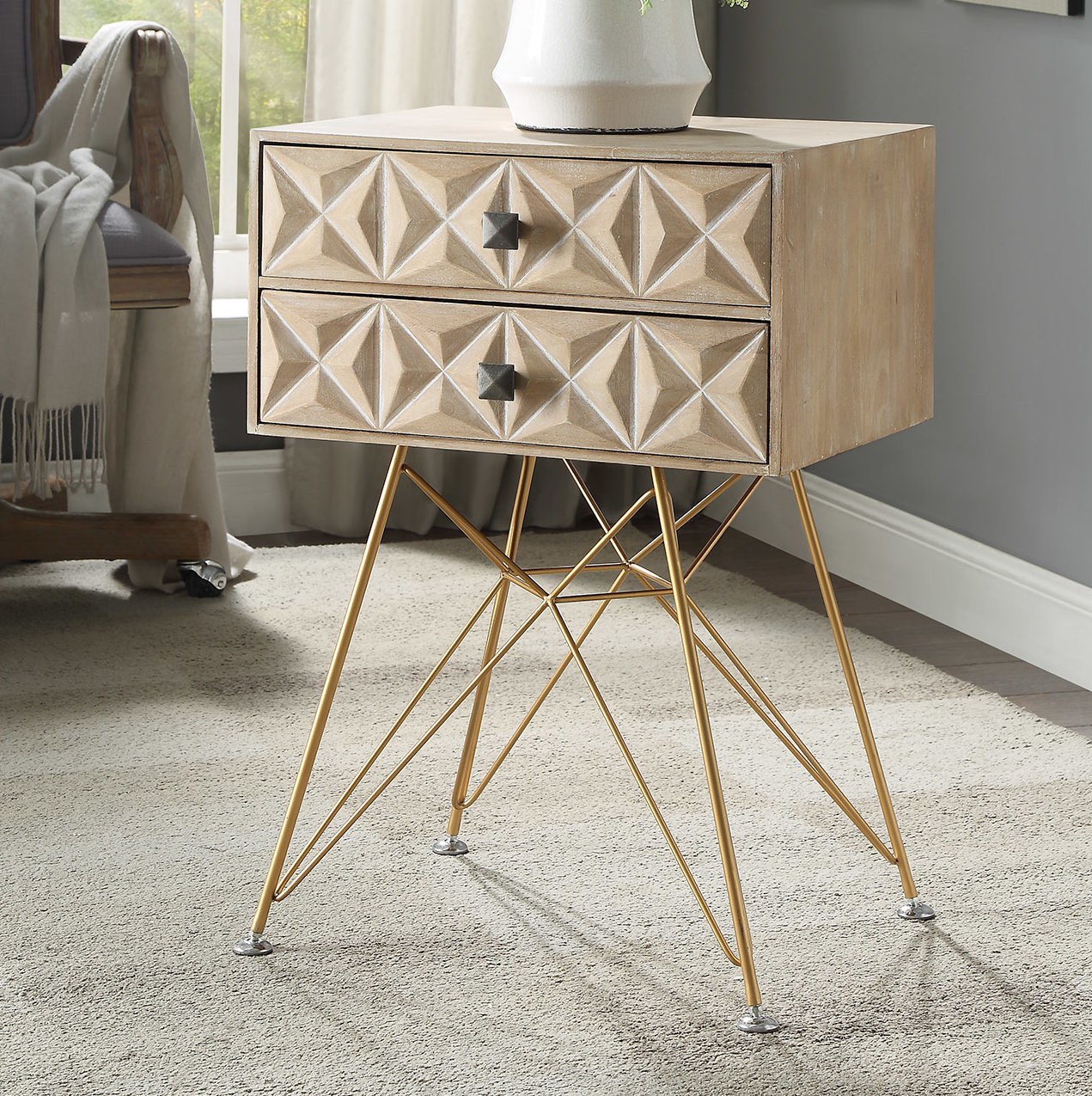 bungalow rose bandit two drawer accent table metal with drawers pier candles modern lamp shades pottery barn rattan coffee square marble dining chairs home and decor goods tables