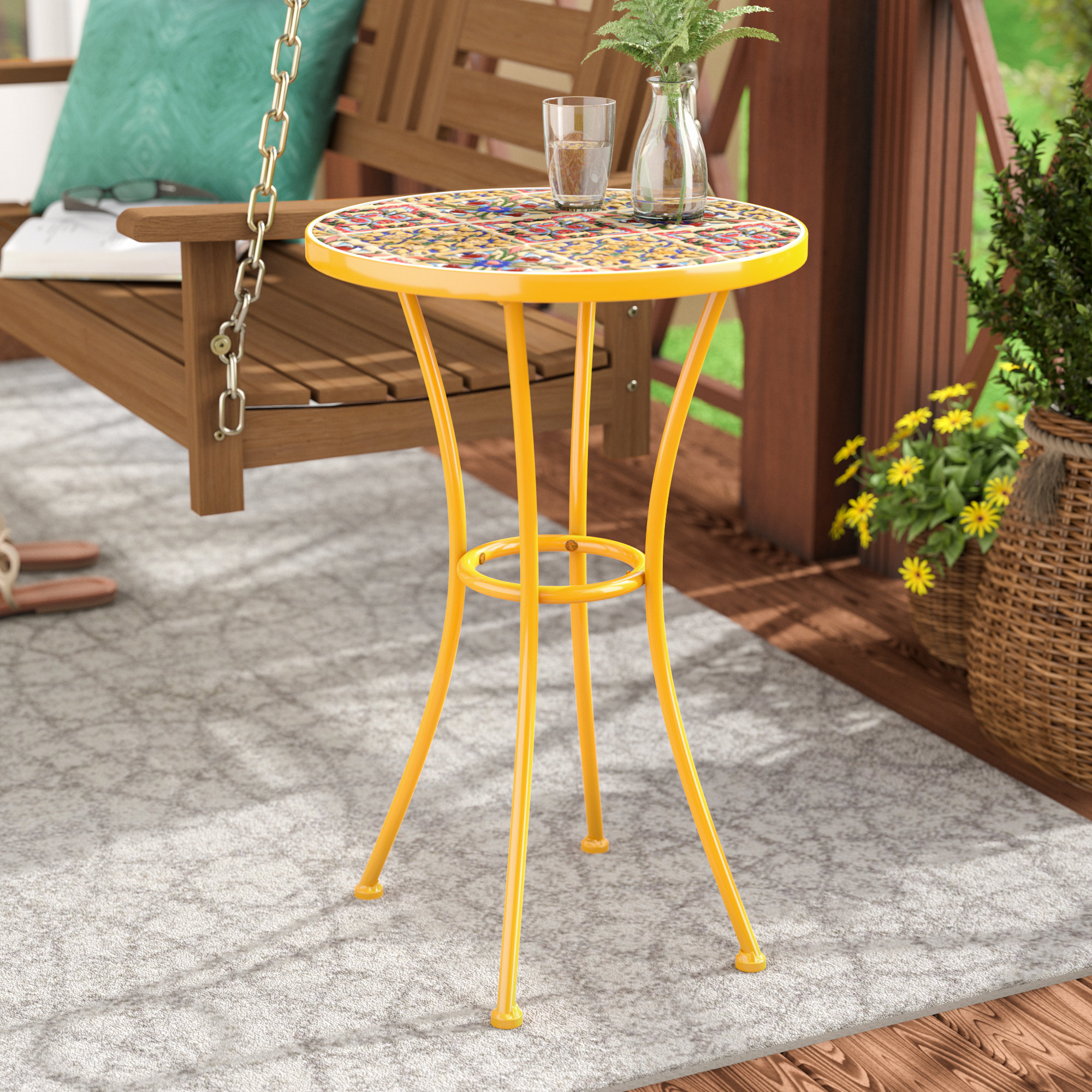 bungalow rose chantel outdoor ceramic tile side table reviews drum accent circular occasional fire pit small mini lamp circle wood coffee red nest tables white cube bedside garden