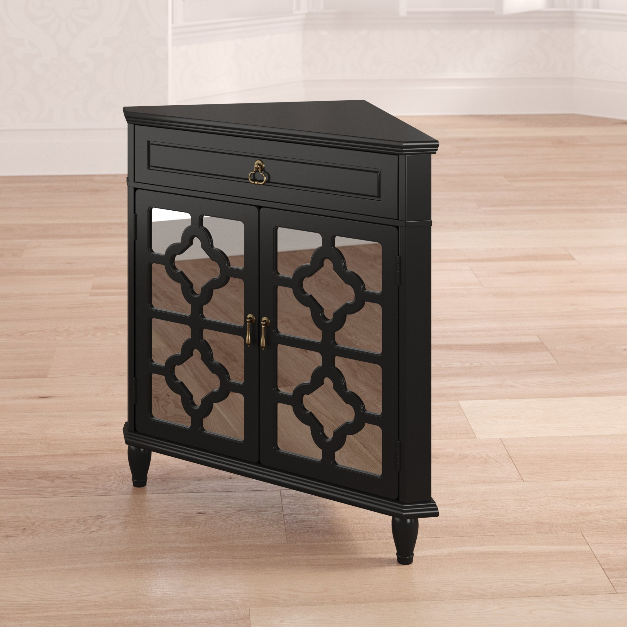 bungalow rose charlwood wooden corner accent cabinet with drawer and doors table drawers reviews patio furniture covers canadian tire brown resin wicker side black metal coffee