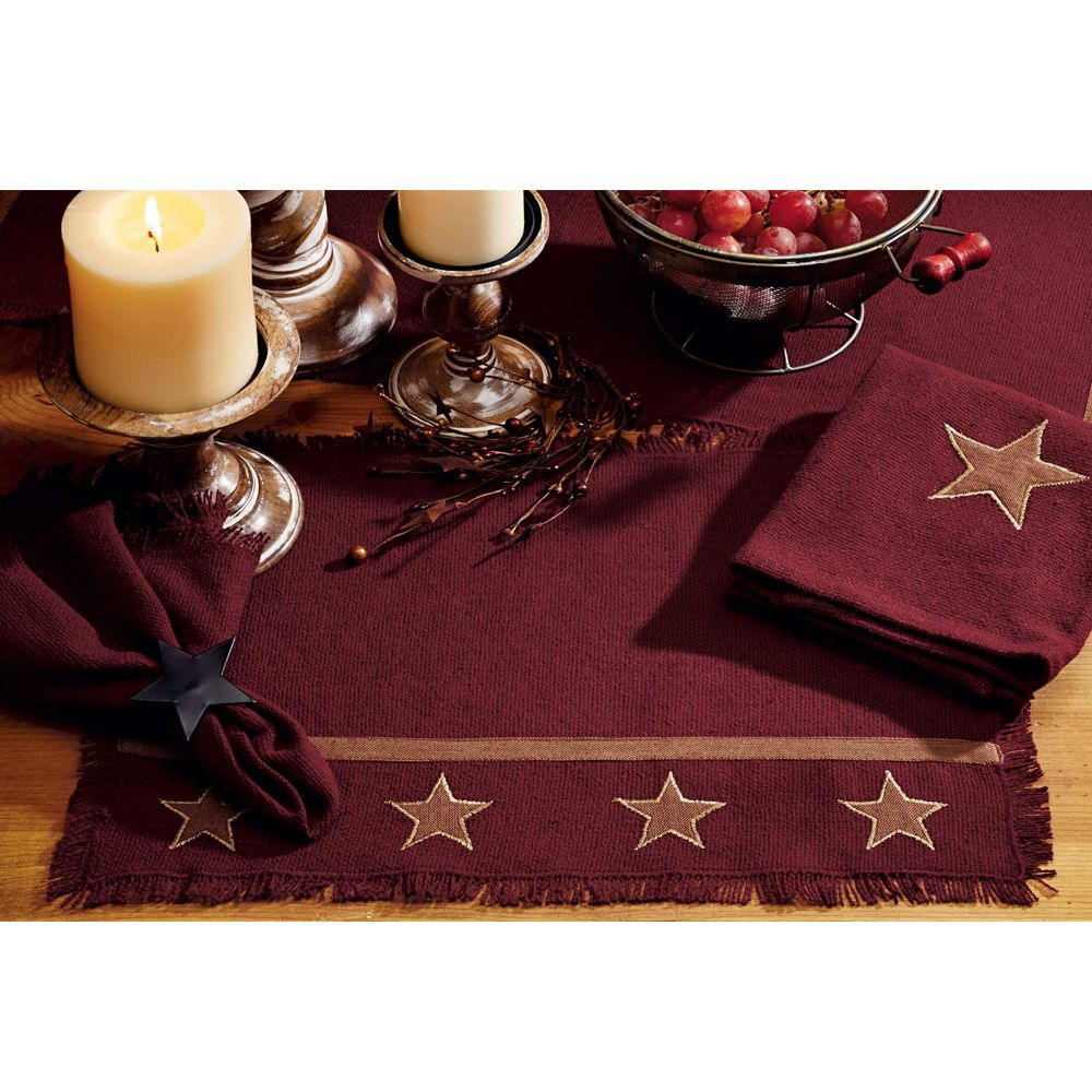 burlap star wine placemats available viva home decor table accent placemat cool side tables mirrored wood coffee giant patio umbrella ethan allen leather furniture plastic set
