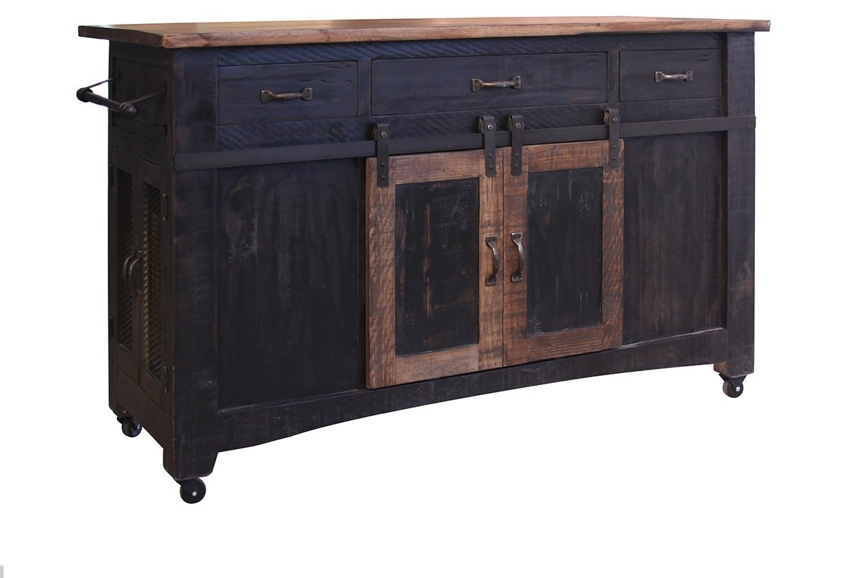 burleson home furnishings anton farmhouse solid wood accent table distressed black sliding barn door kitchen island with storage and rolling casters nautical pendant lights for