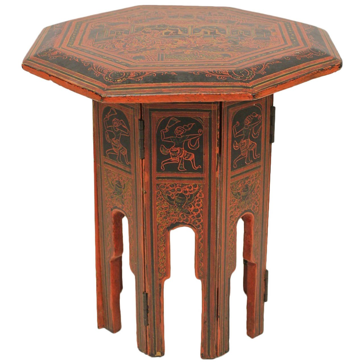 burmese red and black lacquered octagonal accent table for metal light wood end tables foot round tablecloth cherry console pair lamps tool chest cocktail cloths maple dining
