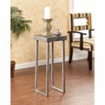 burnt oak finish top with weathered gray look this tall upton pedestal accent table home lumberton lamp has the personality blend many styles living room sets pool and patio 150x150