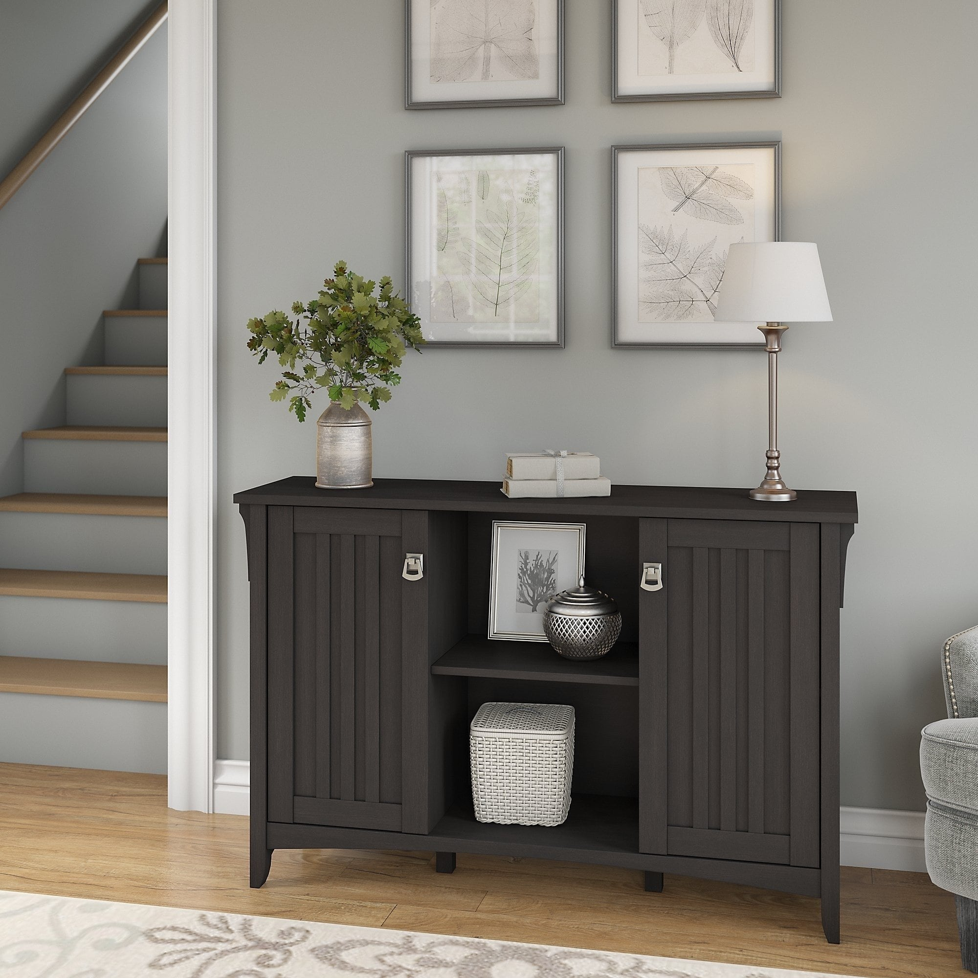 bush furniture salinas accent storage cabinet with doors vintage black bronze patio side table grey wingback chair bathroom cabinets modern trestle unfinished wood nautical