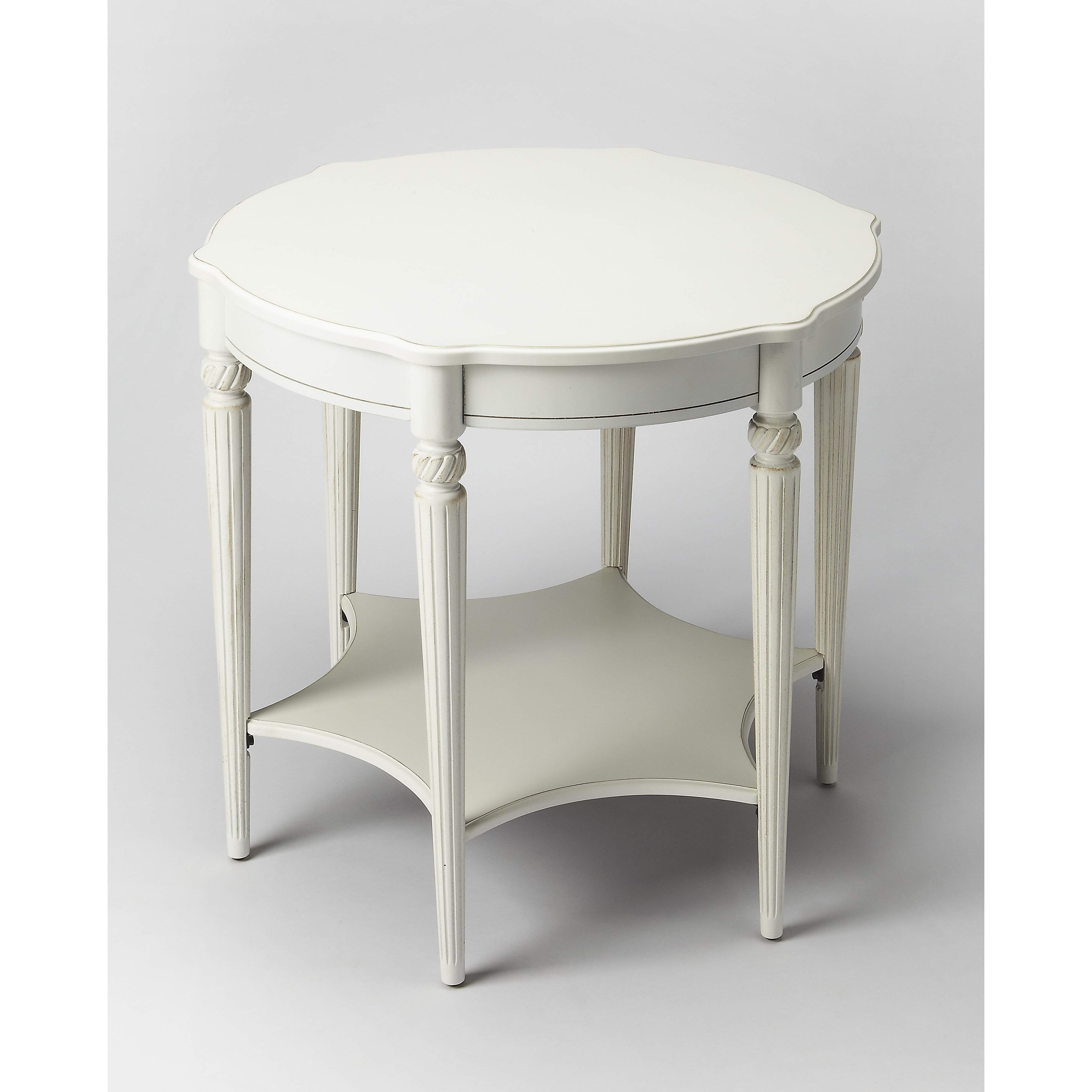 butler bainbridge cottage white accent table round this elegant blends classic old world styling with today casual sophistication nautical bedside lamps kids outdoor furniture