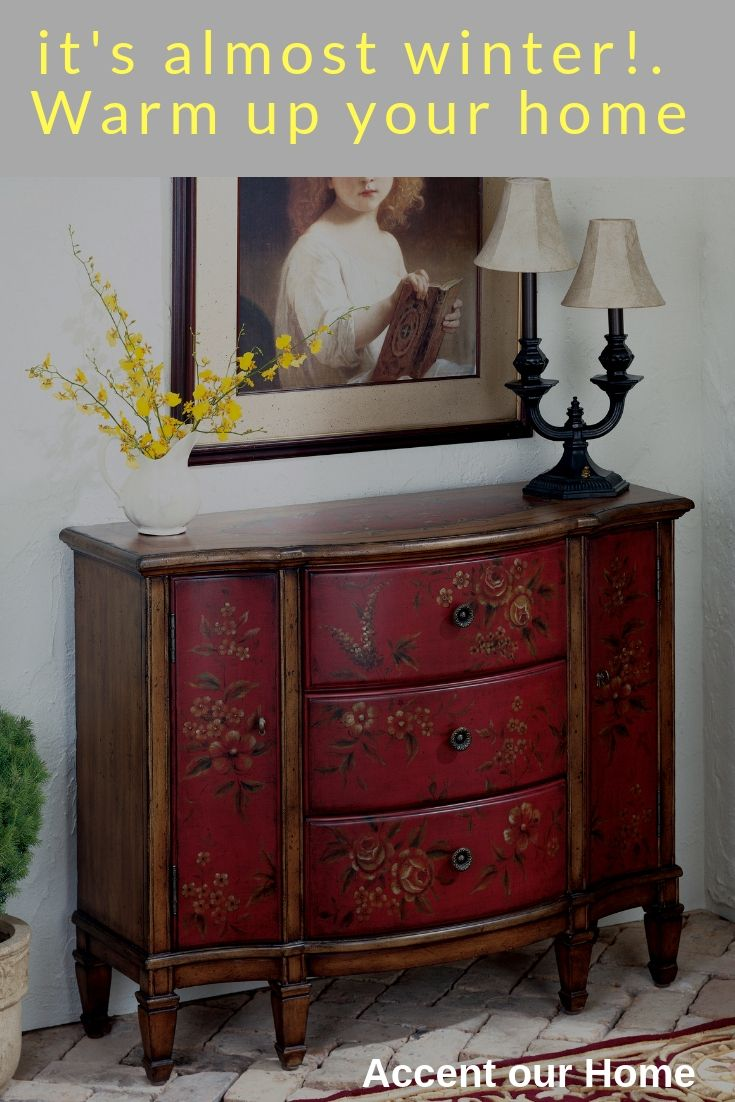 butler sheffield red hand painted console cabinet accent consoles tables chests and table counter height round pub pedestal legs french oak furniture square acrylic coffee