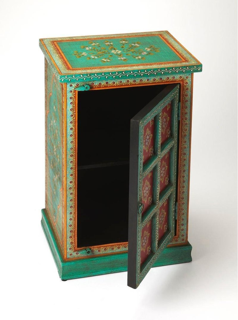 butler specialty company express your flair for mesattaewnwc emerald green accent table the dramatic with this hand painted chest featuring beautiful floral modern bedroom