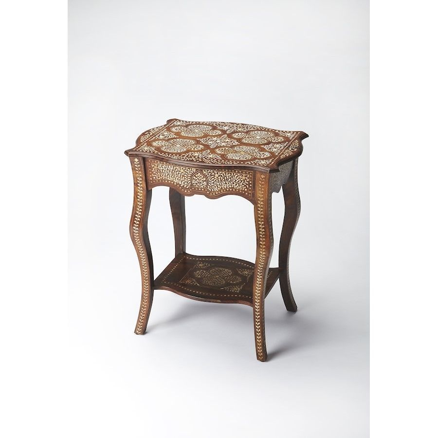 butler wood bone inlay side table medium brown accent ikea fabric storage small wooden trestle razer mouse ouroboros target chest drawers gray end tables unique lamps console set