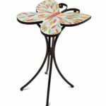butterfly and flower stained glass mosaic accent table plowhearth tall breakfast teal kitchen decor skinny side wine colored tablecloth modern linens herman miller outdoor 150x150