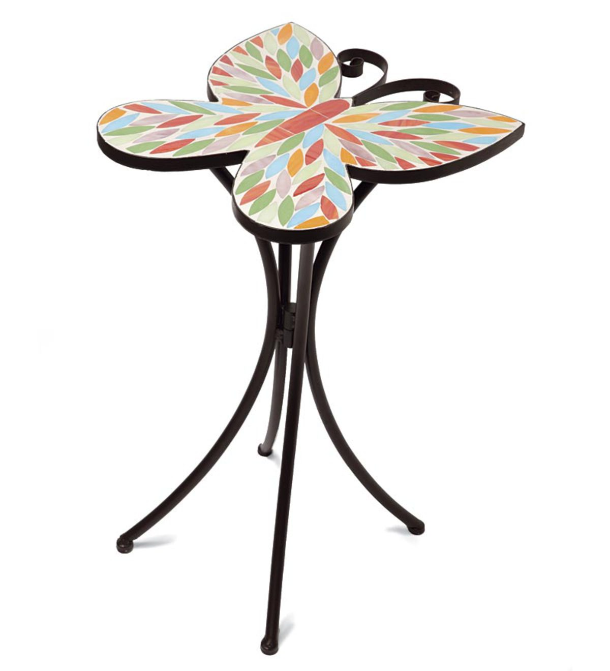 butterfly and flower stained glass mosaic accent table plowhearth tall breakfast teal kitchen decor skinny side wine colored tablecloth modern linens herman miller outdoor