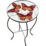 butterfly glass hand painted round indoor outdoor patio accent table garden shower curtains red metal side trestle bench target designer lamps inch stool reading chair for bedroom 150x150