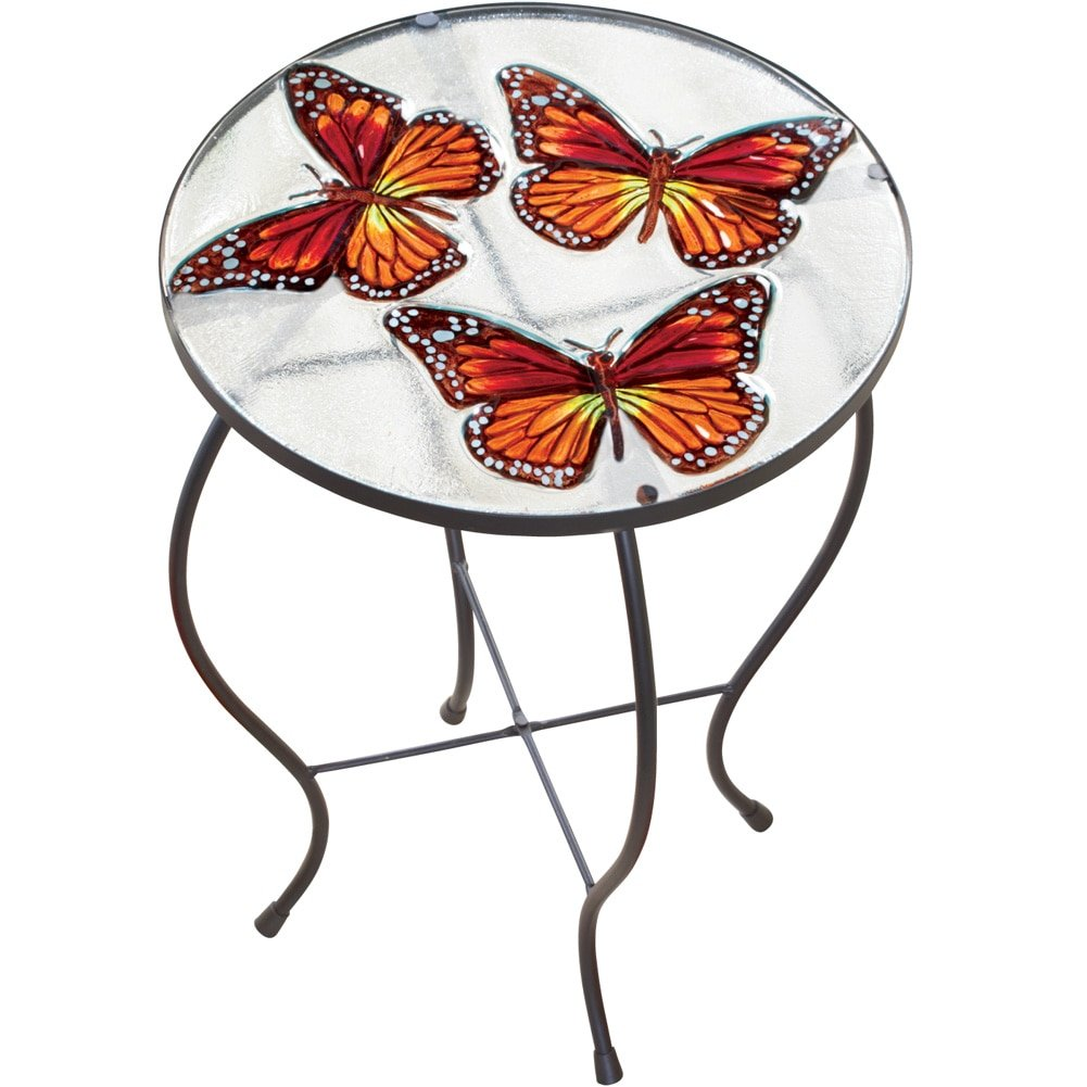 butterfly glass hand painted round indoor outdoor patio accent table garden shower curtains red metal side trestle bench target designer lamps inch stool reading chair for bedroom