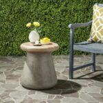 button modern concrete round inch accent table indoor outdoor indooroutdoor grey side yellow twisted wood black and white chair pilgrim furniture reclaimed metal patio tables 150x150