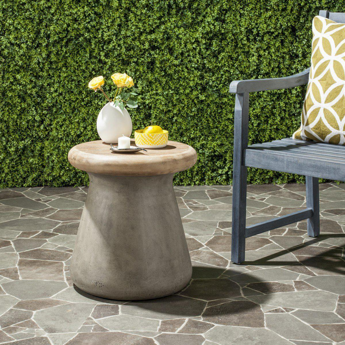 button modern concrete round inch accent table indoor outdoor indooroutdoor grey side yellow twisted wood black and white chair pilgrim furniture reclaimed metal patio tables
