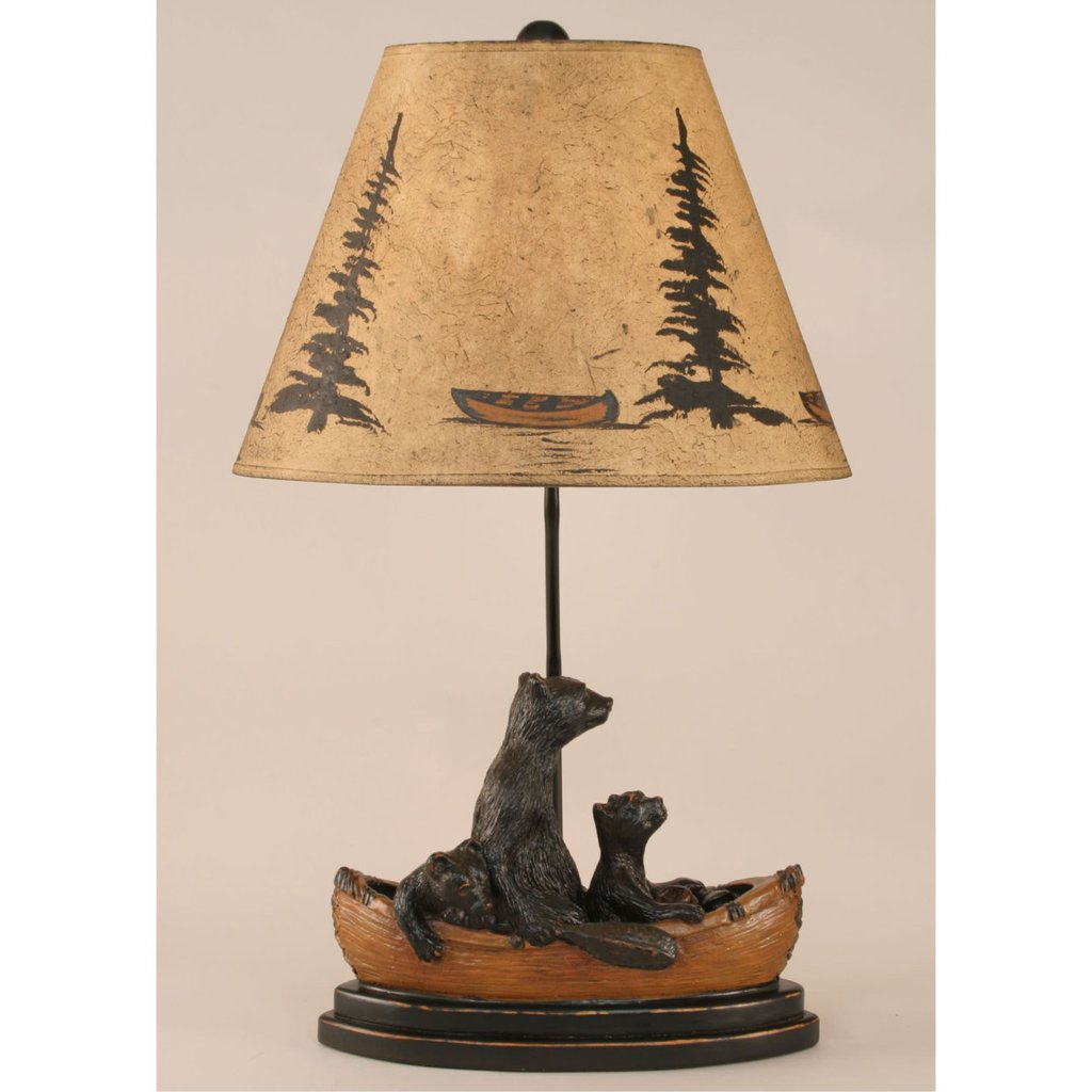 cabin table lamps nautical free ship over bear family canoe lamp kdhn rustic accent light finish western floor outdoor prep station for bbq leather futon cover lucite and glass