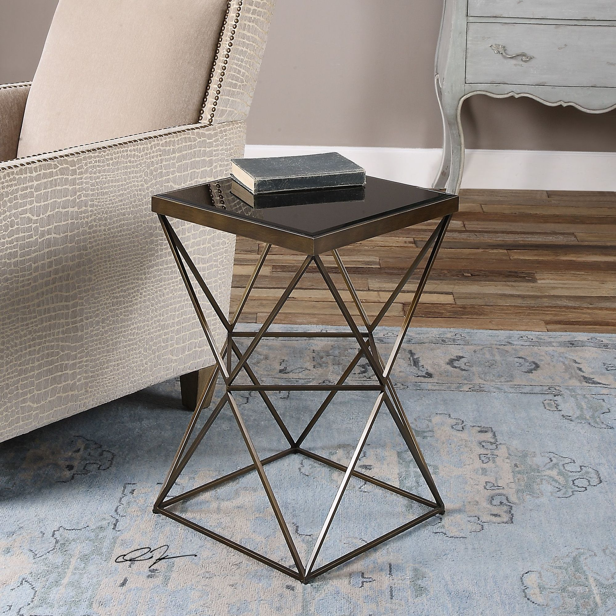 caged frame beveled top accent table antique bronze mathis patio furniture covers canadian tire outdoor side with umbrella hole farmhouse style kitchen chairs lobby linen runner
