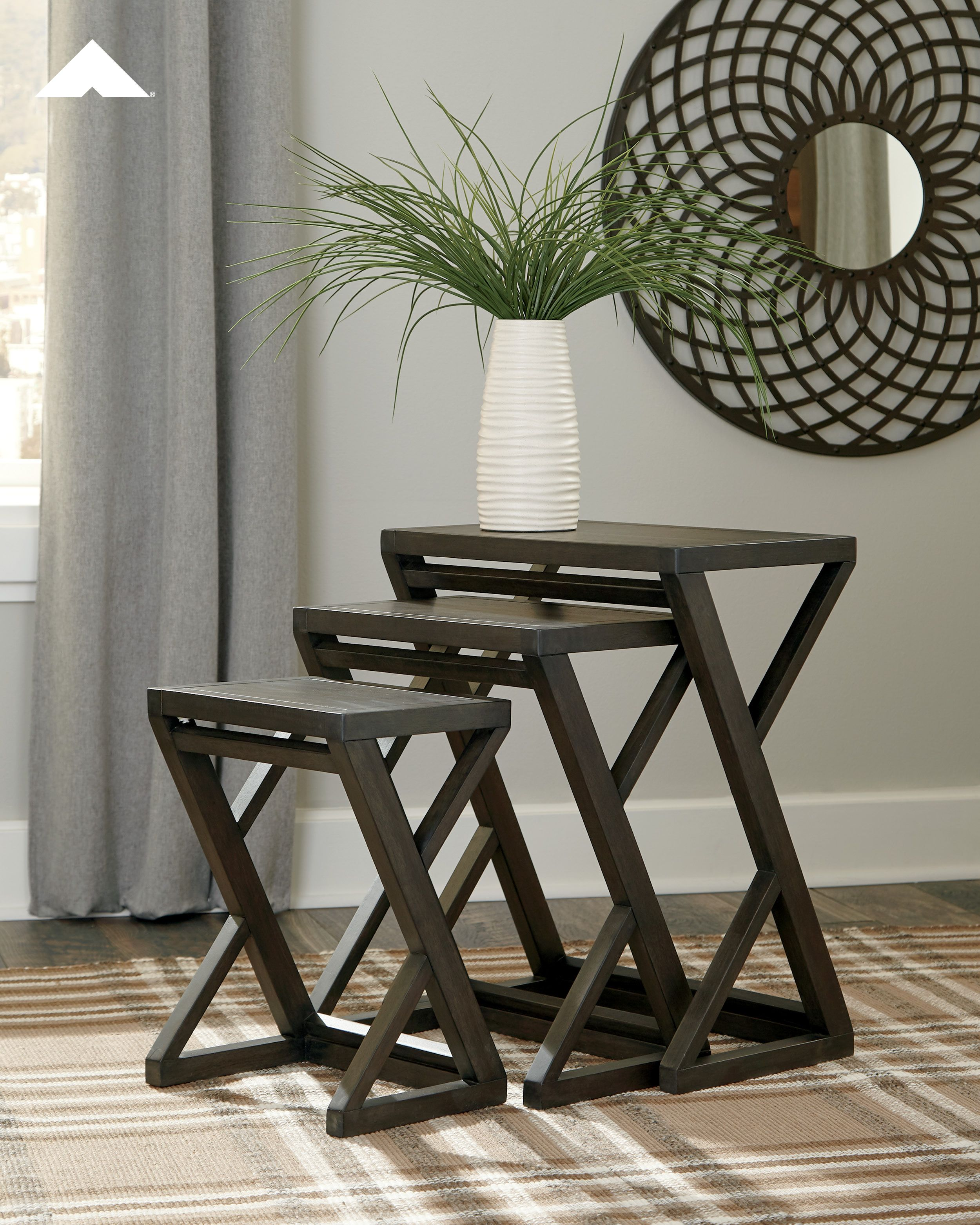 cairnburg gray accent table set ashley furniture tables livingroomdecor homedecorideas ashleyfurniture rustic half moon entryway bench tall mirrored dresser small marble dining