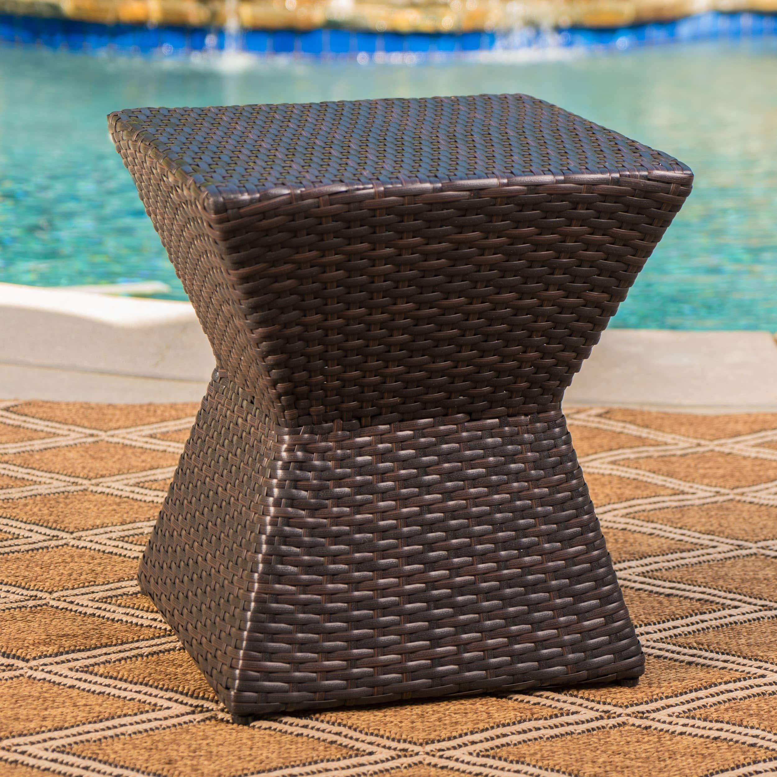 calhoun outdoor square wicker side table christopher knight home brown free shipping today office dining and chairs kade accent dale tiffany dragonfly lily lamp stained glass
