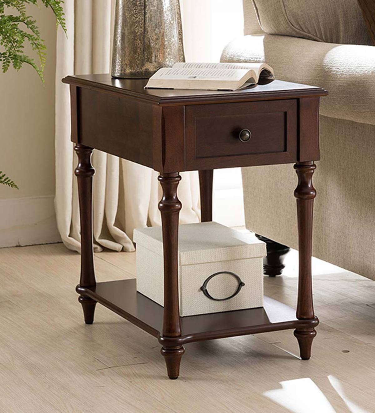 camden side table with charging station dark cherry accent tables mirrored bedroom end small stained glass lamp modern mats outdoor storage bin vanity home goods champagne