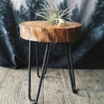 camp hunt camphunt chicago reclaimed salvaged wood stump end table with metal hairpin legs pottery barn accent tables resin wicker chairs tree target patio furniture for small leg 150x150