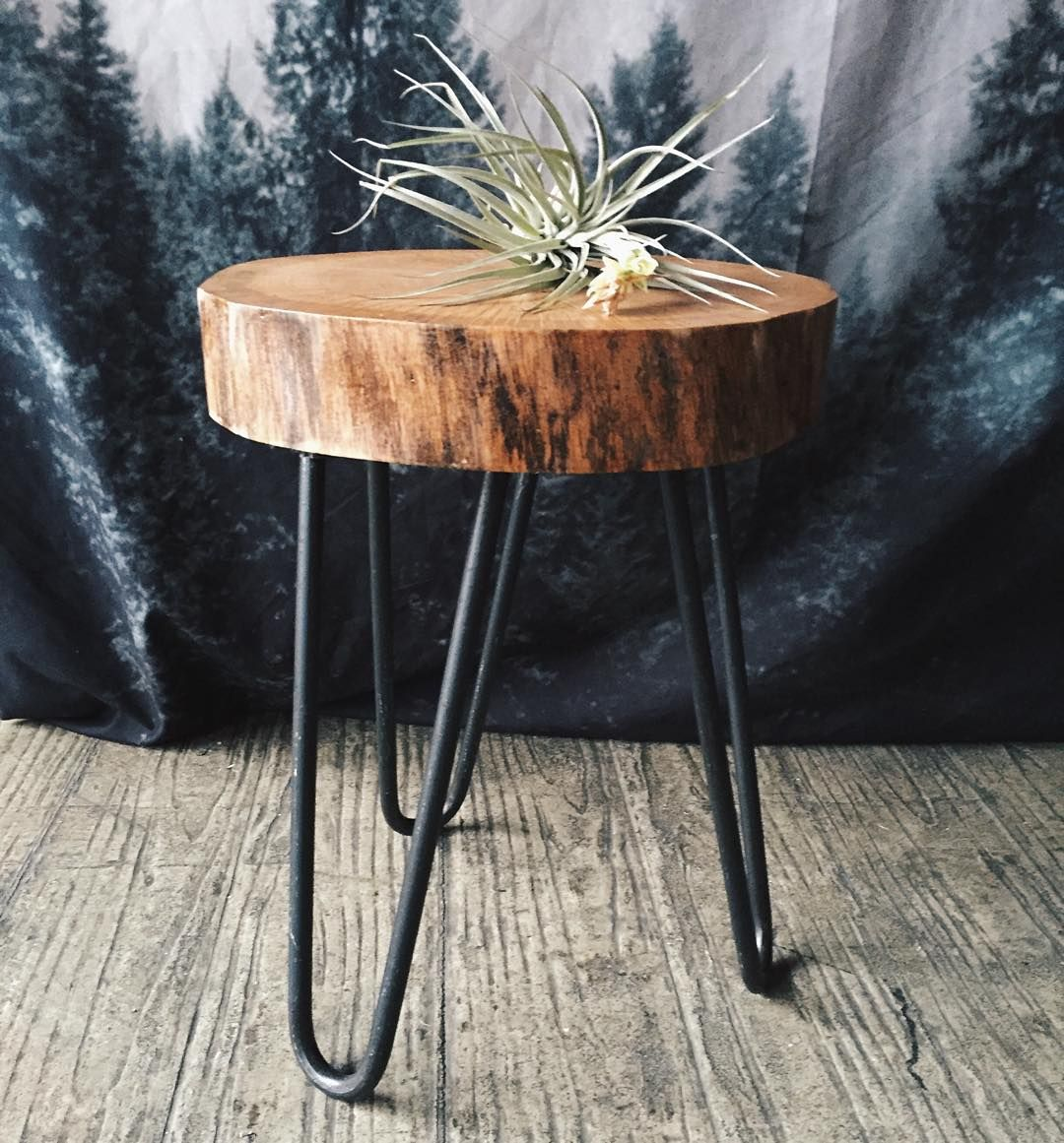 camp hunt camphunt chicago reclaimed salvaged wood stump end table with metal hairpin legs pottery barn accent tables resin wicker chairs tree target patio furniture for small leg