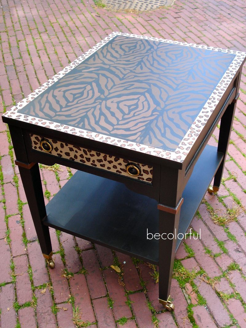 can make this leopard zebra stencil print end table dark cherry accent tables thin console lamp shades glass top cocktail stickley desk liquor cabinet ikea solid oak furniture