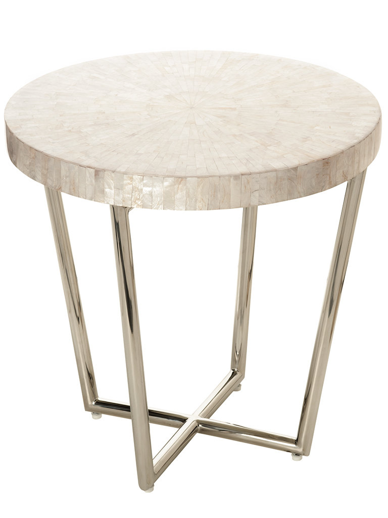 capiz shell side table seashell mosaic end accent indoor vita copenhagen tuscan hills battery operated lamps square trestle standard coffee height asian lamp shade grey gold