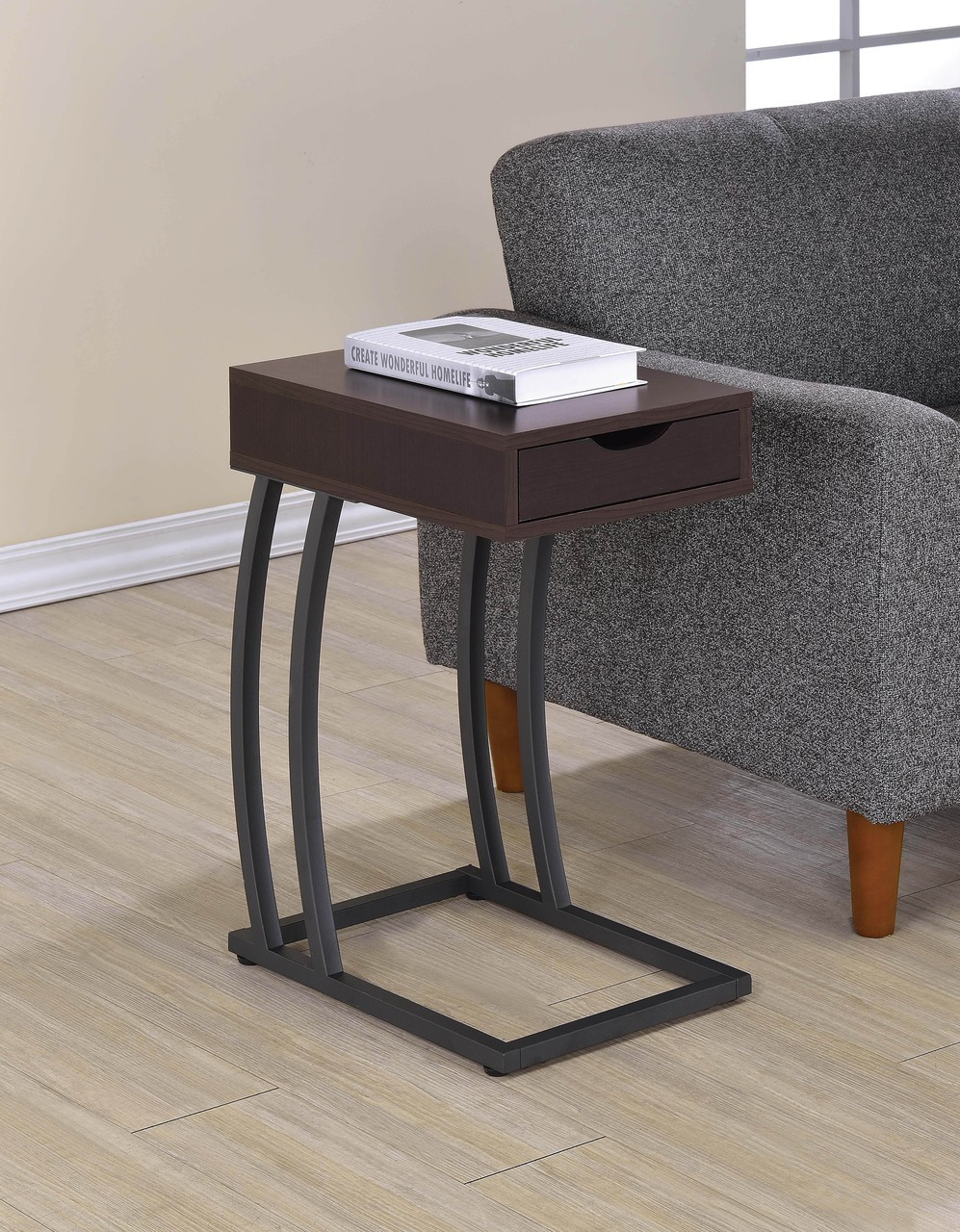 cappuccino accent table with power strip usb ports savvy port chestnut dining pottery barn bookcase farm style bench oak bedside cabinets carpet tile trim strips reclaimed wood